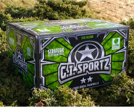 Box of G.I. Sportz 2 Star Paintballs on the ground between bushes