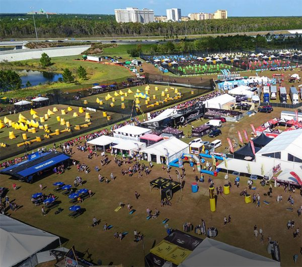 Aerial shot of major paintball tournament with fields, bunkers and team tents in view