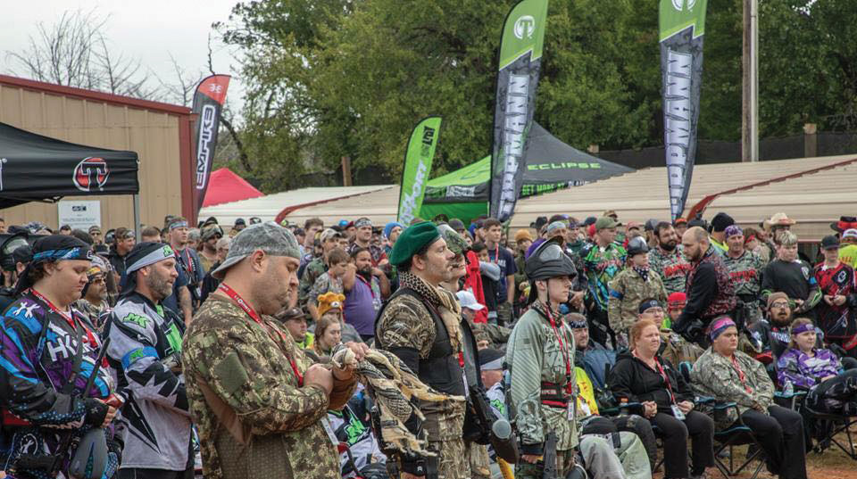A big crowd of players being briefed at Avid Extreme Sports Park in Oklahoma in October at a Paintball game.